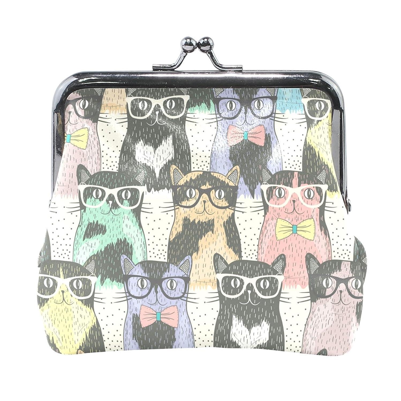 集めるレバー頼むAOMOKI 財布 小銭入れ ガマ口 コインケース レディース メンズ レザー 猫柄 萌え メガネ リボン 虹色