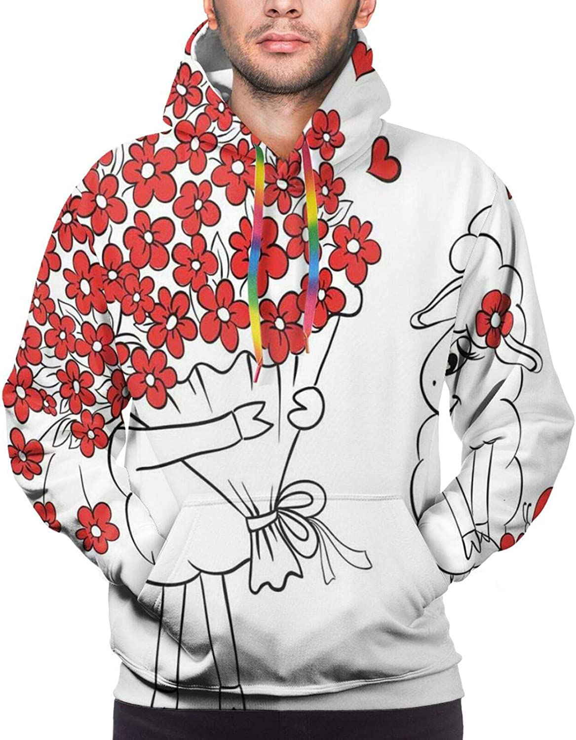 Men's Hoodies Sweatshirts,Lover Birds in The Rain On A Tree Branch Filled with Cherry Flowers Romantic Design