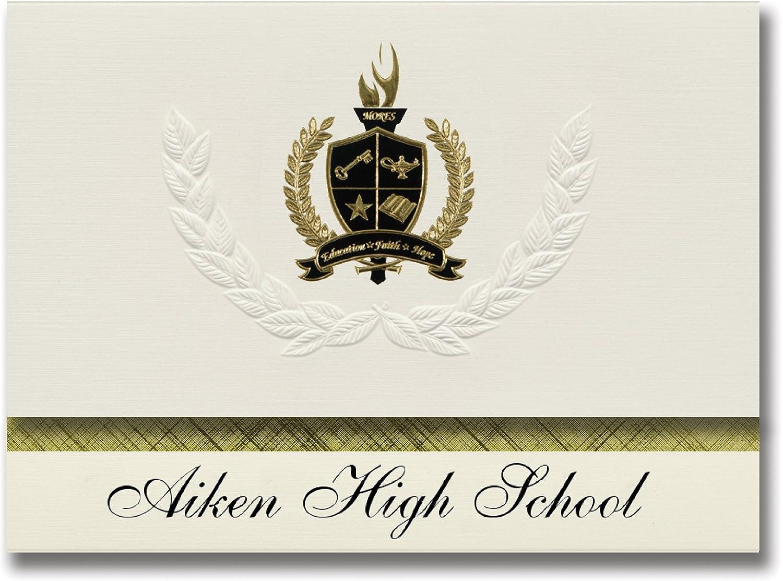 Signature Ankündigungen Aiken High School (Aiken, SC) Graduation Ankündigungen, Presidential Stil, Elite Paket 25 Stück mit Gold & Schwarz Metallic Folie Dichtung B078VCYDVP   | Attraktiv Und Langlebig