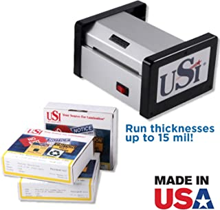 USI HD 400 Heavy Duty Pouch Laminator Kit, Laminates Pouches up to 4 Inches Wide and 15 Mil Thick, 5-Year Warranty; Includes Business Card, Vertical Luggage Tag,and Military Size ID Pouches