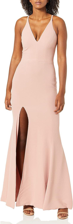 Dress the Population Women's Iris Spaghetti Strap Plunging Long Dress, Blush, Medium
