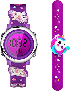 2 Pieces Unicorn Kids Watch and Silicone Wristband Cute 3D Cartoon Waterproof Toddler Wrist Digital Watch 7 Color Lights Watch with Alarm Stopwatch for 3-10 Year Girls (Mysterious Deep Purple)
