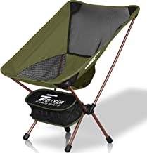 FIELDOOR Portable Compact Outdoor Chair (Low Back), Load Capacity 220.5 lbs (100 kg), Lightweight, Compact, Folding, Ultra Light, Tactical
