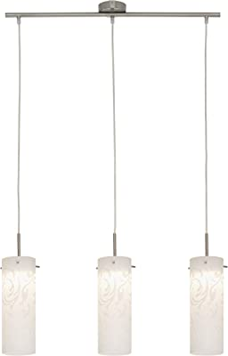Briloner Leuchten 4400-032 Suspension, plafonnier LED, Spots, Salon, Cuisine,Lampe Suspendue, Verre Decor Floral, Métal, Intégré, 5 W, Matt Nickel, 120 x 70.5 x 120 cm
