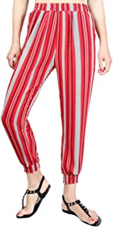 YiyiLai Women Elastic Pockets Pencil Pants Harem Leisure Chiffon Ankle Pants