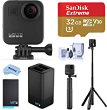 $599 » GoPro MAX Waterproof 360 Camera with Touch Screen, 5.6K30 Video 16.6MP Photos Pro Bundle with Grip + Tripod, Dual Charger, Battery, 32GB microSD Card, Cleaning Kit