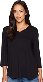 Baby French Terry V-Neck 3/4 Sleeve Top Black MD