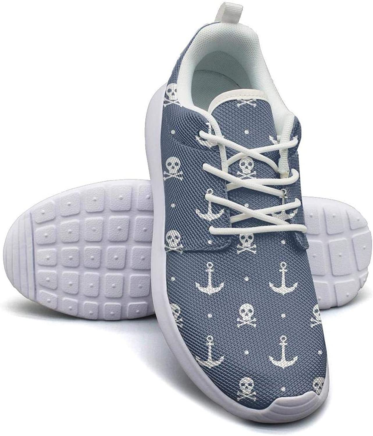 Gjsonmv Anchors Skulls bluee mesh Lightweight shoes Women Dad Sports Gym Sneakers shoes