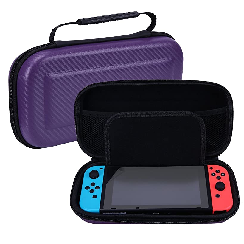 HDE Carrying Case for Nintendo Switch Hard Case with 10 Game Cartridge Storage and Included Screen Protector Travel Carry All for Console and Accessories (Purple)