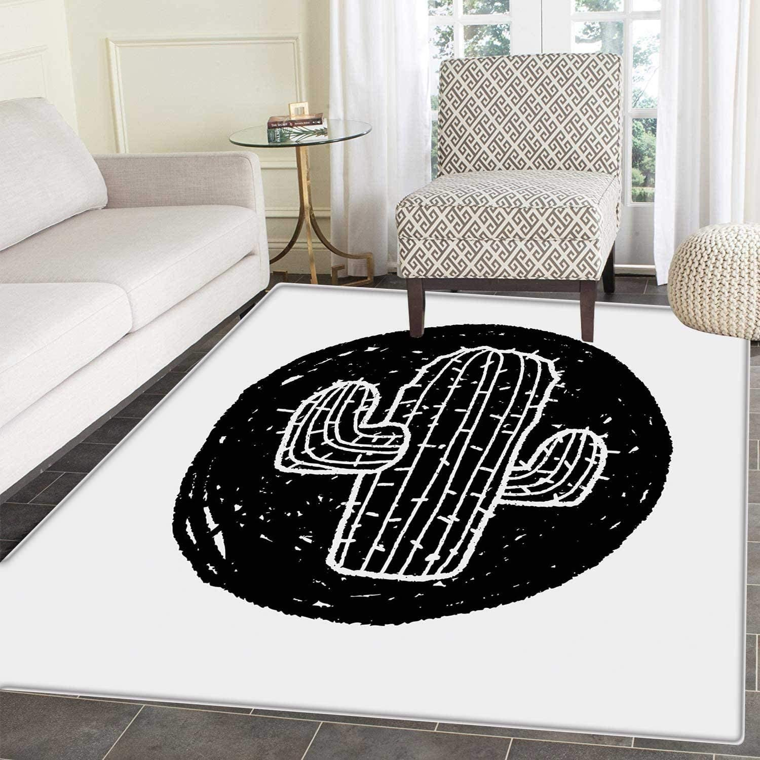 Cactus Area Rug Sketch Style Doodle Plant Theme Grungy Monochrome Saguaro from Mexico Flora Floor Mat Rug Indoor Front Door Kitchen Living Room Bedroom Mats Rubber Carpe Non Slip