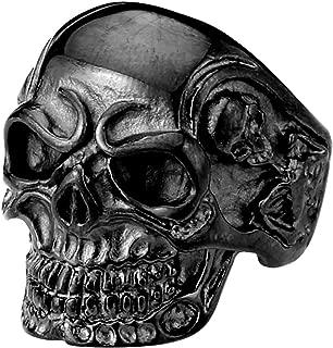 Men's Vintage Gothic Skull Bone Biker Stainless Steel Ring Band Black