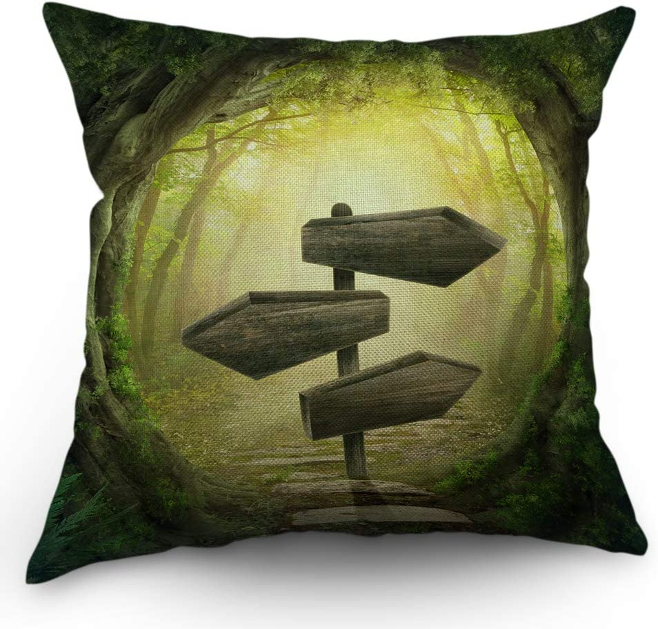 Moslion Forest Pillow Case Wooden Magic Road Sunlight Bombing free shipping Arrows Rare Fog
