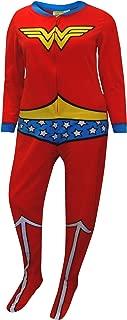 Wonder Woman Fleece Junior Cut Onesie Footie Pajama for women (Medium)