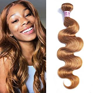 Christmas Day Aigemei Peruvian Virgin Hair Body Wave Honey Blonde 1 Bundle 100% Unprocessed Body Wavy Human Hair Extensions(22 Inch,Honey Blonde Color 27)