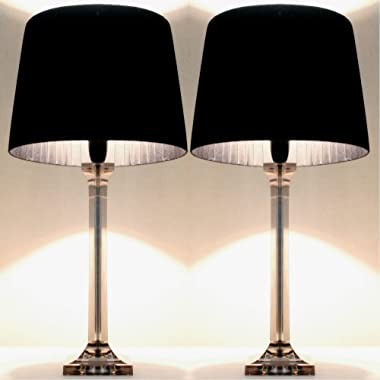 Pair of New Deco Modern Designer Bedside Table Lamps with Black Ribbon Shade Set of 2 (60)
