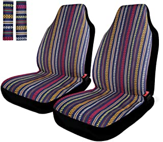 INFANZIA Baja Front Seat Covers Saddle Blanket Auto Seat Cover with Seat Belt Covers Fit Car Truck Van SUV, 4Pcs, Blue