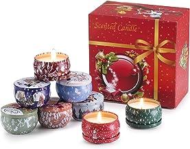 YYCH مجموعات هدايا شموع معطرة لعيد الميلاد، شمع الصويا الطبيعي 70.9 مل وحدة السفر المحمولة مثالية للذكرى السنوية للنساء - ...