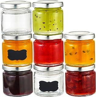 25 Pots à Confiture de 125 ml avec Couvercle & Etiquettes - Bocaux en Verre Hermétiques de Conservation