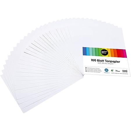 perfect ideaz 100 feuilles de Cartonette A4, Papier à dessin blanc, teinté dans la masse, blanche, grammage 130 g/m², Feuilles de bricolage d'excellente qualité