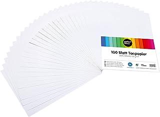 perfect ideaz 100 feuilles de Cartonette A4, Papier à dessin blanc, teinté dans la masse, blanche, grammage 130 g/m², Feui...