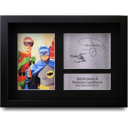 HWC Trading FR David Jason and Nicholas Lyndhurst Gift Signed FRAMED A4 Printed Autograph Only Fools and Horses Gifts Del Boy Rodney Trotter Print Photo Picture Display