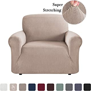 Washable Stretch Chair Covers Couch Slip Sofa Covers for Living Room, Soft Spandex Jacquard Slipcover Furniture Cover Bonus Form Sticks, Skid Resistant Sofa Cover (One Seater, Sand)