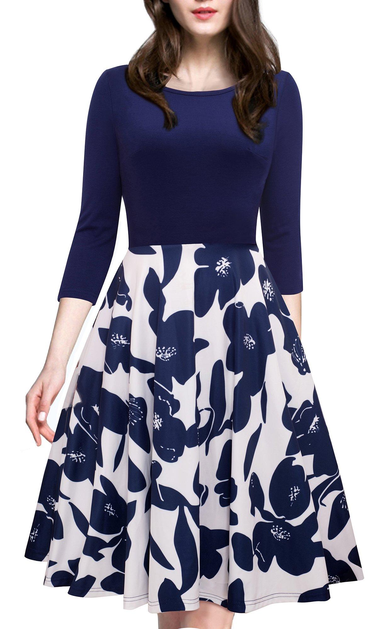 HOMEYEE 女式 20 世纪 50 年代复古优雅盖袖飘逸派对礼服 A009