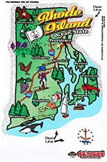 Flagline Rhode Island - State Map Outline Vinyl Sticker
