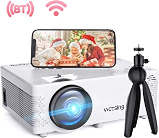 VicTsing WiFi Projector with Bluetooth Function & Screen Mirroring, 3800 Lux Wireless Projector with Tripod, 1080P Supported, HiFi Sound. Mini Projector Compatible with TV Stick, PS4【2020 New Tech】