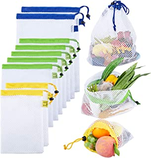 Reusable Mesh Produce Bags, See Through Mesh Bags with Tare Weight Tags for Fruit Vegetable, Set of 9, 3 Sizes