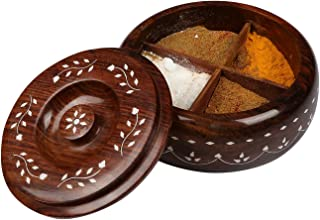 Handicraft Multi Purpose Wooden Masala Box or Dry Fruit (15x8 cm)