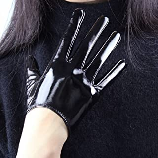 Black Super Long Leather Gloves for Women Faux Patent PU Sexy Opera Glossy Pair Finger Gloves Cosplay Matching