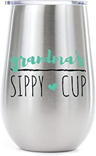 Grandma's Sippy Cup 12 oz. Stainless Steel Skinny Glass Wine Tumbler - Proudly Screen Printed in the USA - Double Wall Vaccum Insulated