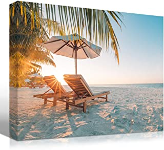 Mon Art Summer Holiday Beach Sunset Canvas Print Tropical Palm Tree Sea Scene Wall Art White Sand Landscape Vacation Sunshine Picture Photo Artwork Modern Seasonal Decoration Home Decor Framed,12x16x1