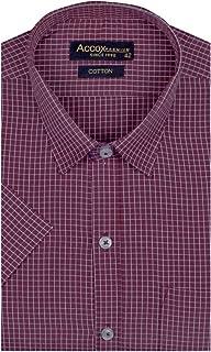 ACCOX Men's Half Sleeves Formal Regular Fit Cotton Check Shirt(GO535)