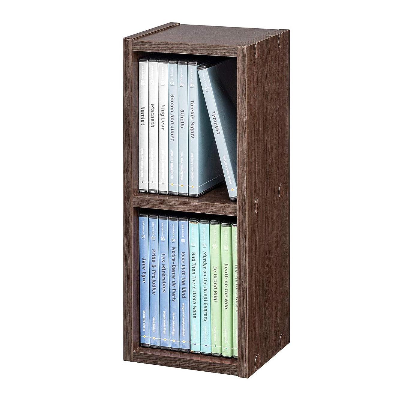 クロスに頼るバクテリアサンワダイレクト メディアラック CD/DVD 小物 収納 縦置き 横置き スリム 2段 ブラウン 200-FCD060BR