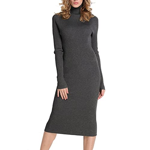 af71849297d Rocorose Women s Turtleneck Ribbed Elbow Long Sleeve Knit Sweater Dress