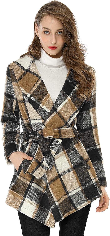 Allegra K Women's Turn Down Collar Asymmetric Hem Plaids Wrap Coat