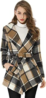 brown plaid wrap coat