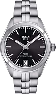 ساعة تيسوت PR 100 باورماتك مينا اسود للنساء T1012071105100