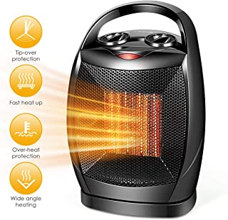 Space Heater–1500W Fast Heat Small Ceramic Space Heater for Office Small Room Desk, Overheat & Tip-Over Protection, Energy Efficient Space Heater for Indoor Use