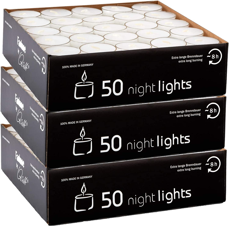 Qult Farluce(TM) Nightlights weiß - Teelichter in in in Kunststoffhülle und Premiumqualität - Rußfrei - ca. 8 Stunden Brenndauer - Gastro Großpackung - Sparpack - unbeduftet, Teelichter 150 Nightlights B07NVDFNBY 3b3222
