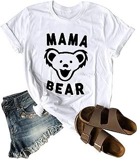 ZJP Women Crew Neck Short Sleeve Mama Bear Letter Graphic Printed Tee Shirt Tops