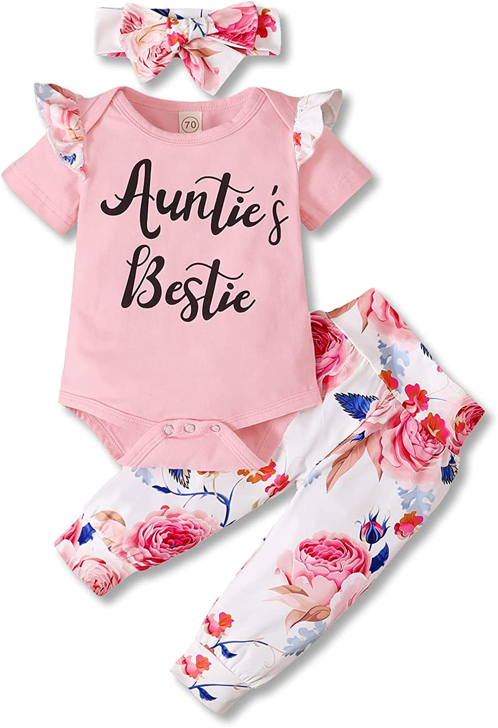 Auntie's Bestie Newborn Baby Girl Clothes Set Ruffle Short Sleeve Romper Floral Pants Headband Outfits Set