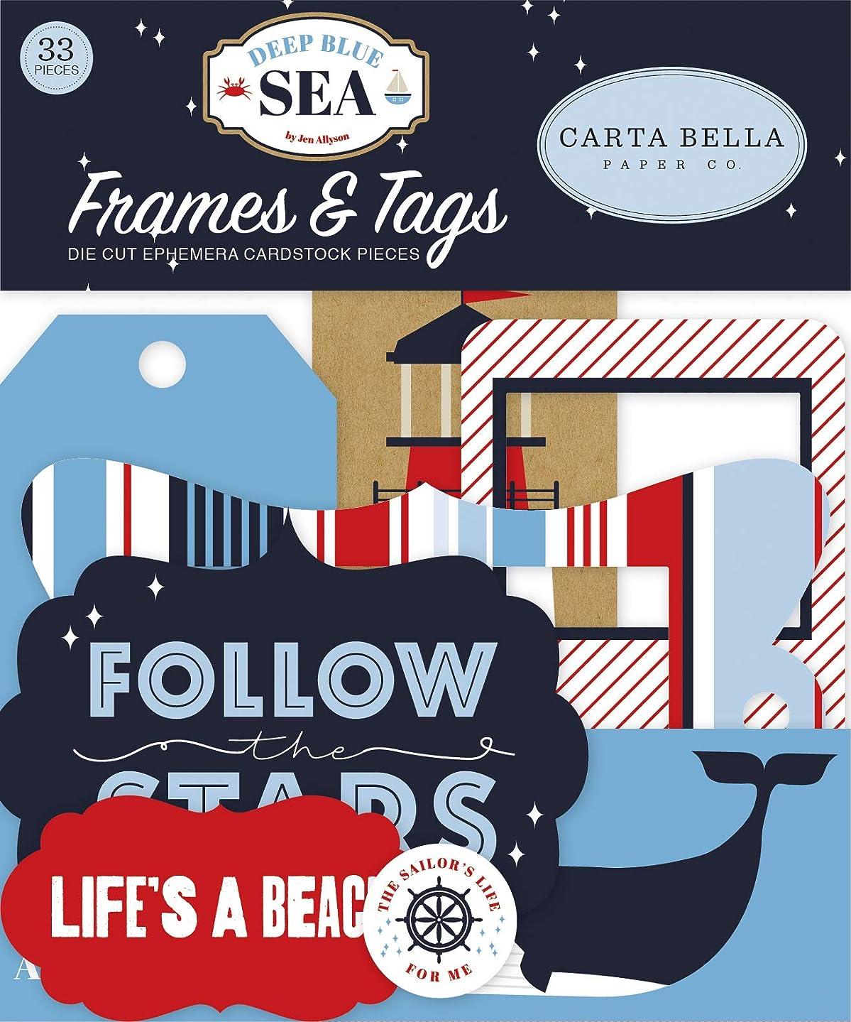 Carta Bella Paper Company CBDB102025 Deep Blue Sea Frames & Tags Ephemera, red, Navy, White