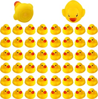 EM 50pcs Rubber Ducky Bath Toy for Kids, Float and Squeak Mini Small Yellow Ducks Bathtub Toys for Shower/Birthday/Party S...