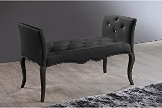 Baxton Studio Wholesale Interiors Kristy Modern and Contemporary Faux Leather Classic Seating Bench, Black