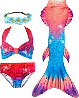 3 PCS Girls Mermaid Swimsuit for Swimming Bikini Princess