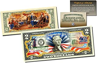 """Merrick Mint July 4TH 1776 Independence Day & Statue of Liberty 2"""" Sided Colorized $2 Bill! W/H Certificate of Authenticity!"""