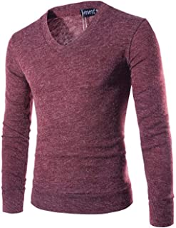 Elonglin Knit Pull Homme Col V Pull en Mailles Fines V-Neck Col de Chemise Homme Pull-Over Tricot en Coton Manches Longues Sweat-Shirt
